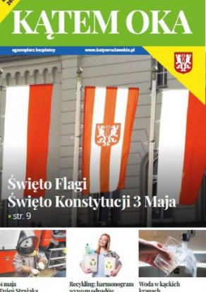 Okładka Informatora Gminnego Kątem Oka z flagami polski i flagą Katów wrocł.