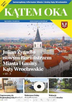 Okładka Informatora Gminnego na niej ratusz w Katach Wrocławskich