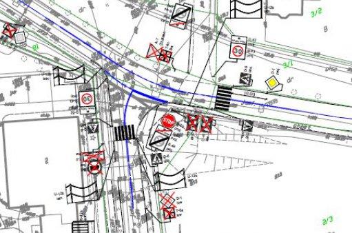 fragment mapy z wyrysowanym projektem organizacji ruchu