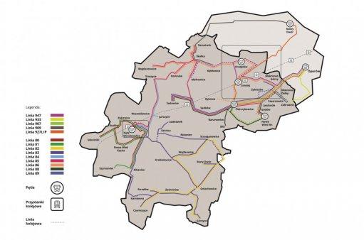 Mapa komunikacji Kąty Wrocławskie