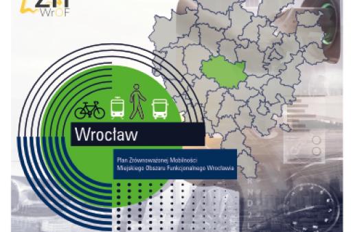 Ulotka - mapa Polski z zaznaczonym Dolnym Śląskiem, wrysowanym rowerem i pieszym